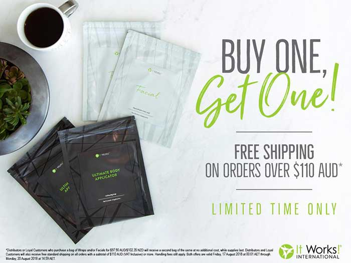 It Works Body Wraps BOGO Sale August 16, 2018